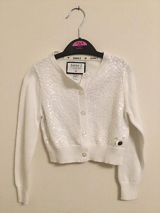 Junior j sequinned white cardigan