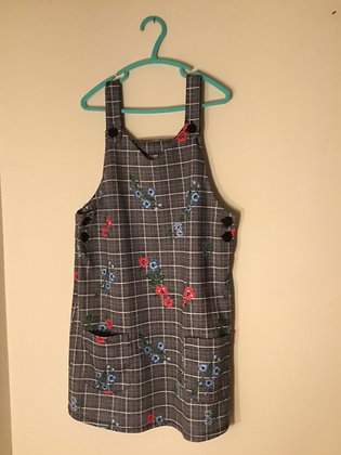 Grey patterned pinafore dress (age 9)