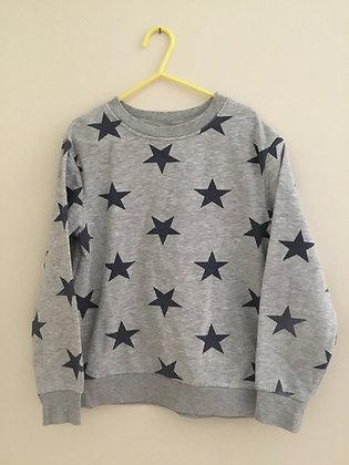 Grey & navy star sweatshirt (age 6-7)