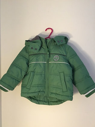 Green, lined coat with removable hood (age 9-12 months )