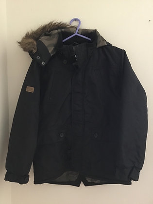 Black coat with hood (age 11-12)
