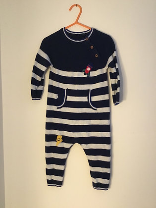 Knitted navy/white all in one (age 9-12 months) TU