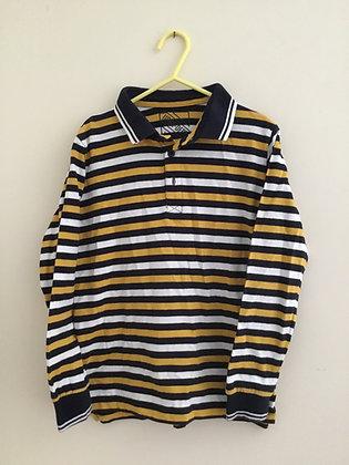 Stripy long sleeve polo shirt (age 8) Matalan