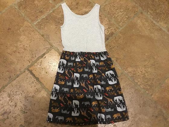 Grey/animal print dress age 10 Gap