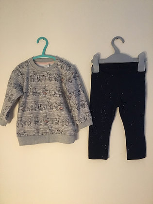 2 piece set, sweatshirt and leggings, H&M  (12-18 months)