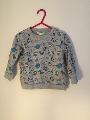 Grey dinosaur patterned sweatshirt (age 9-12 months )