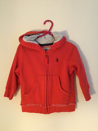 Red zip front hoodie (age 9-12 months )