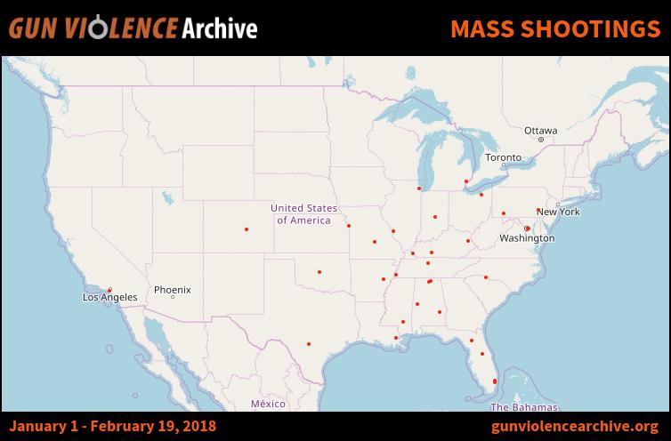 Sparatorie di massa negli USA dal 1/1/2018