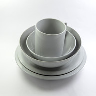Plates, Bowl and Cup Grey Set