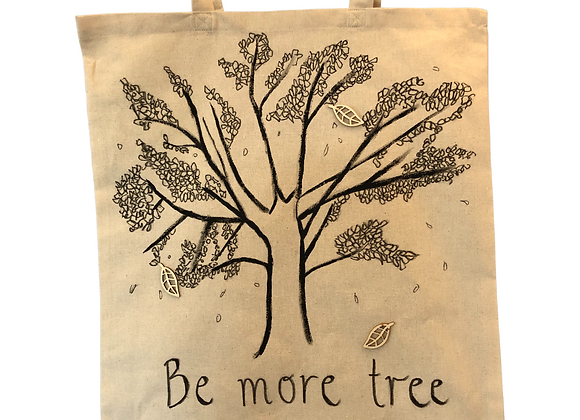 Be More Tree, hand drawn and hand embellished tote bag
