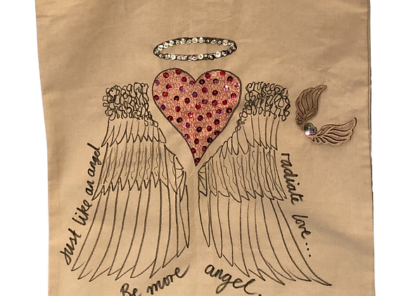 Be More Angel, hand drawn & hand embellished tote bag