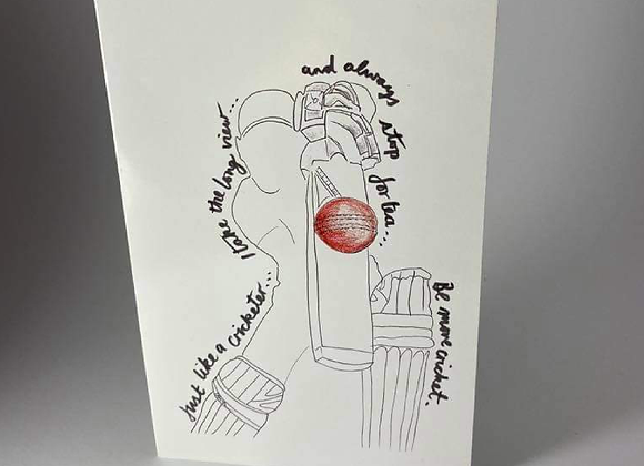 Cricket Lovers Greeting Card, Be More Cricket