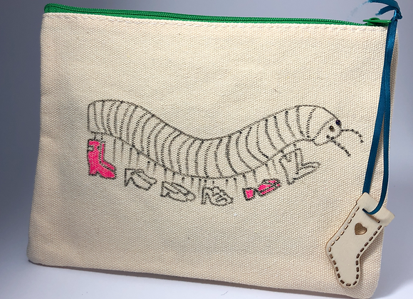 Be More Millicent, hand drawn/embellished small zipped bag