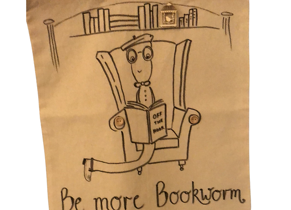 Be More Bookworm, hand drawn & hand embellished tote bag