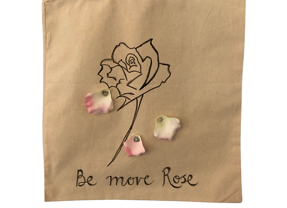 Be More Rose, hand drawn and hand embellished tote bag
