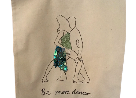 Be More Dancer, hand drawn and hand embellished tote bag