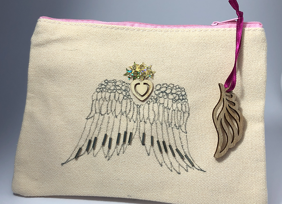 Be More Angel, hand drawn and hand embellished small zipped bag