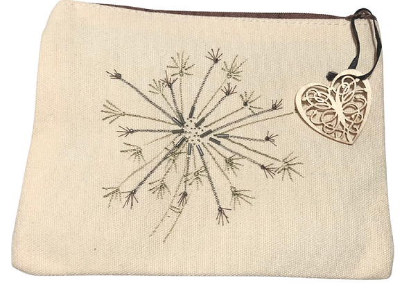 Be More Dandelion, hand drawn and hand embellished small zipped bag