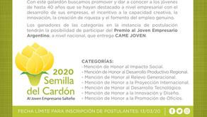 Postulá o postulate al Premio Semilla de Cardón al Jóven Empresario del año.