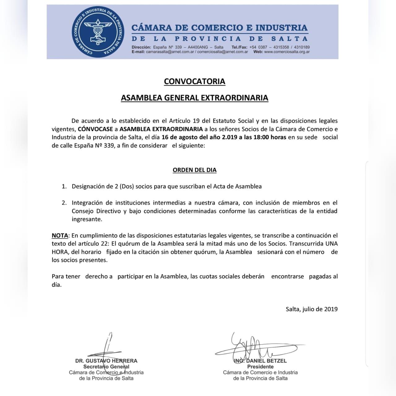 CONVOCATORIA ASAMBLEA EXTRAORDINARIA od.