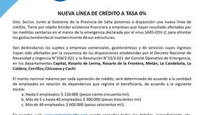 NUEVA LÍNEA DE CRÉDITO A TASA 0%