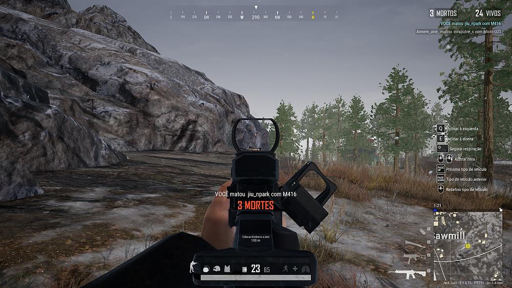 PUBG posicionamento jogador mira arma