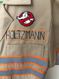 Character: Gillian Holtzmann Film: Ghostbusters (2018) Jumpsuit detail, featuring custom reflective detailing and handmade name patch
