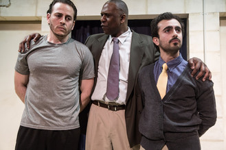 BASSAM ABDELFATTAH, BRADFORD STEVENS, and SALAR ARDEBILI in Language Rooms at Broken Nose Theatre