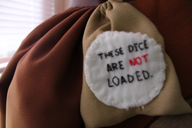 Character: Miguel Film: The Road to El Dorado Skirt detail, featuring hand-embroidered dice pouch 2019