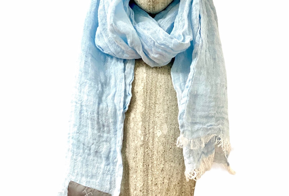 Ice- Blue Linen Scarf