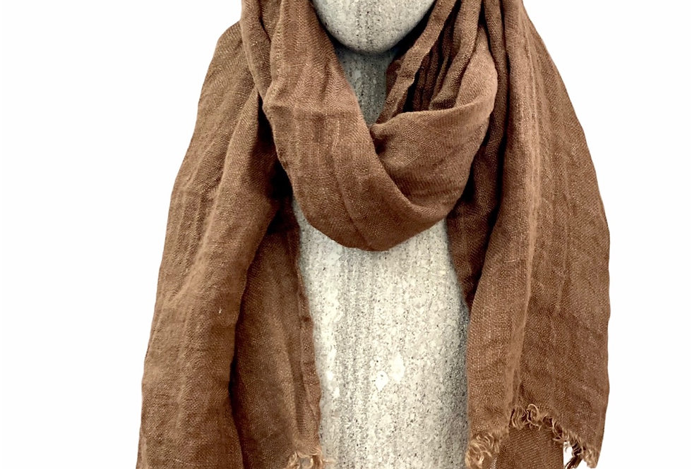 Chocolate Brown Linen Scarf