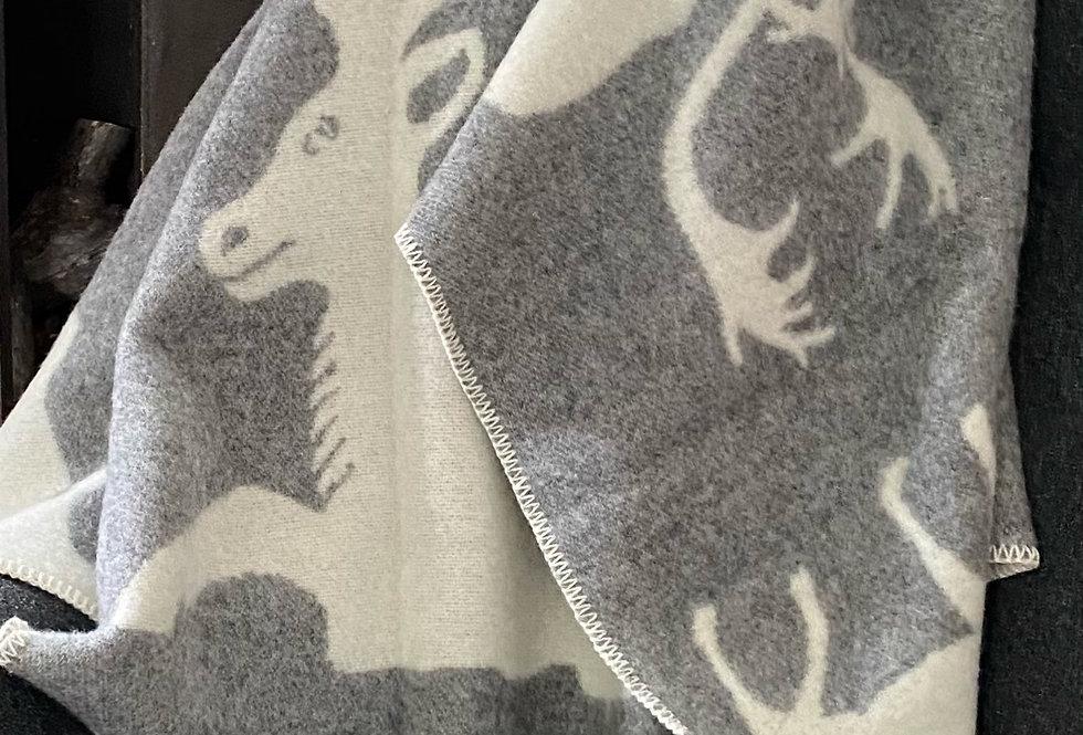 Reindeer Family Woollen Throw Blanket