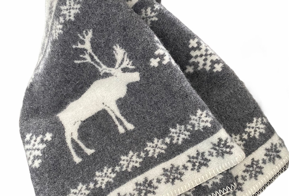 Baltic Reindeer Woollen Throw Blanket