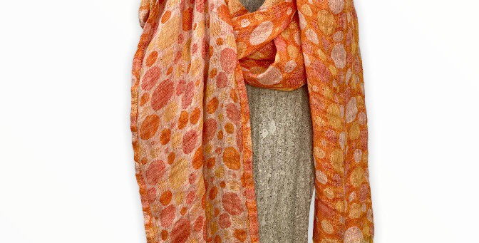 Orange Dot Linen Scarf
