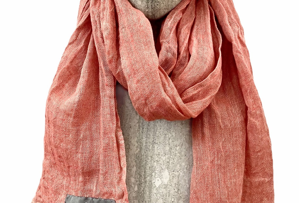Coral Pink Linen Scarf