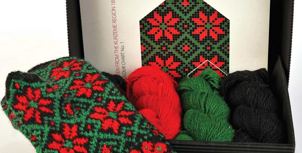 KURZEME RED - Mitten Knitting Kit