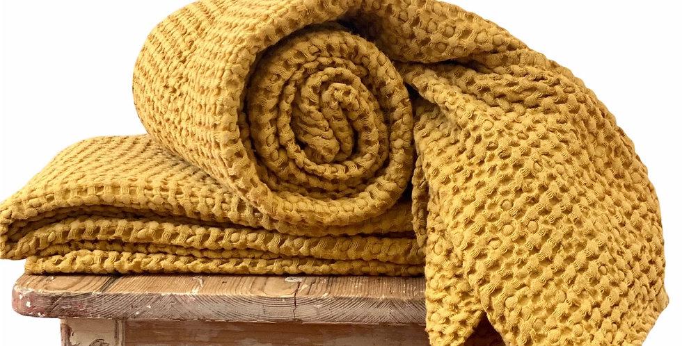 Mustard Linen Waffle Spa Towel