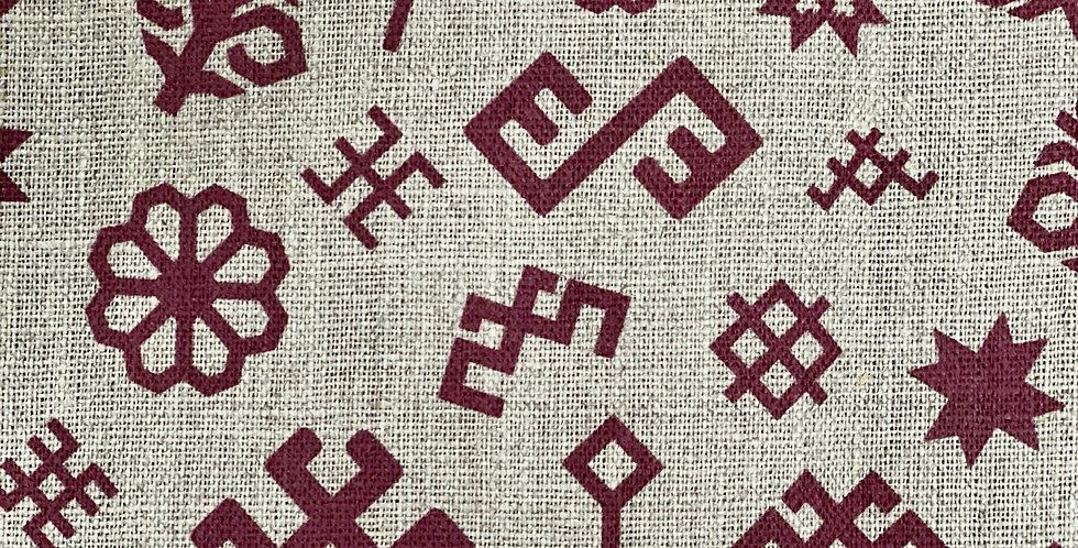 Natural and Red Ethnographic Tea Towel