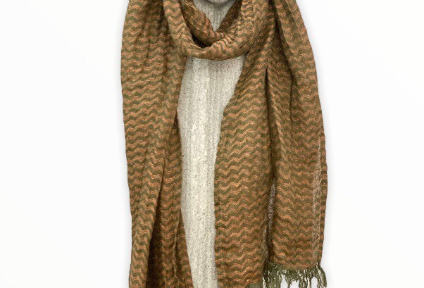 Orange and Green Linen Scarf