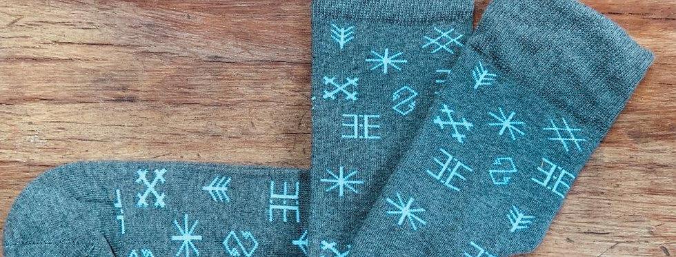 Latvian Patterned Socks - Grey