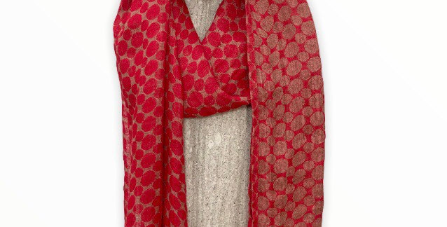 Red Dot Linen Scarf