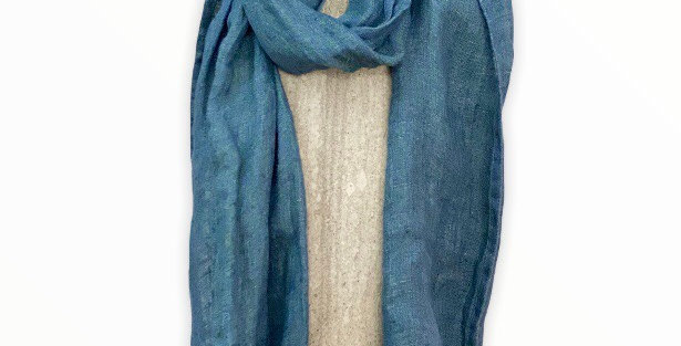 Blue and Green Linen Scarf
