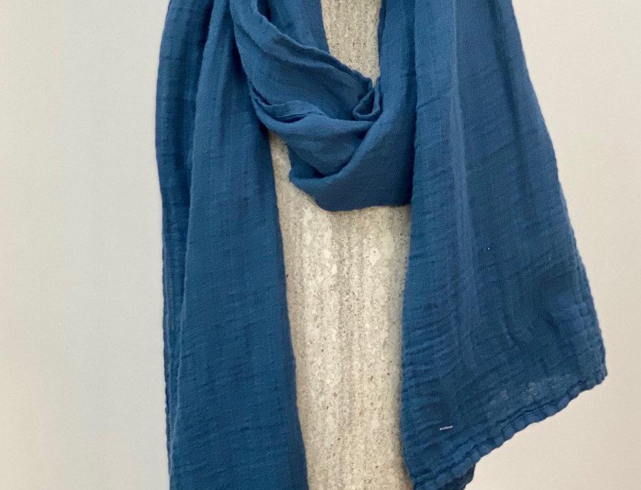 Royal Blue Linen Scarf