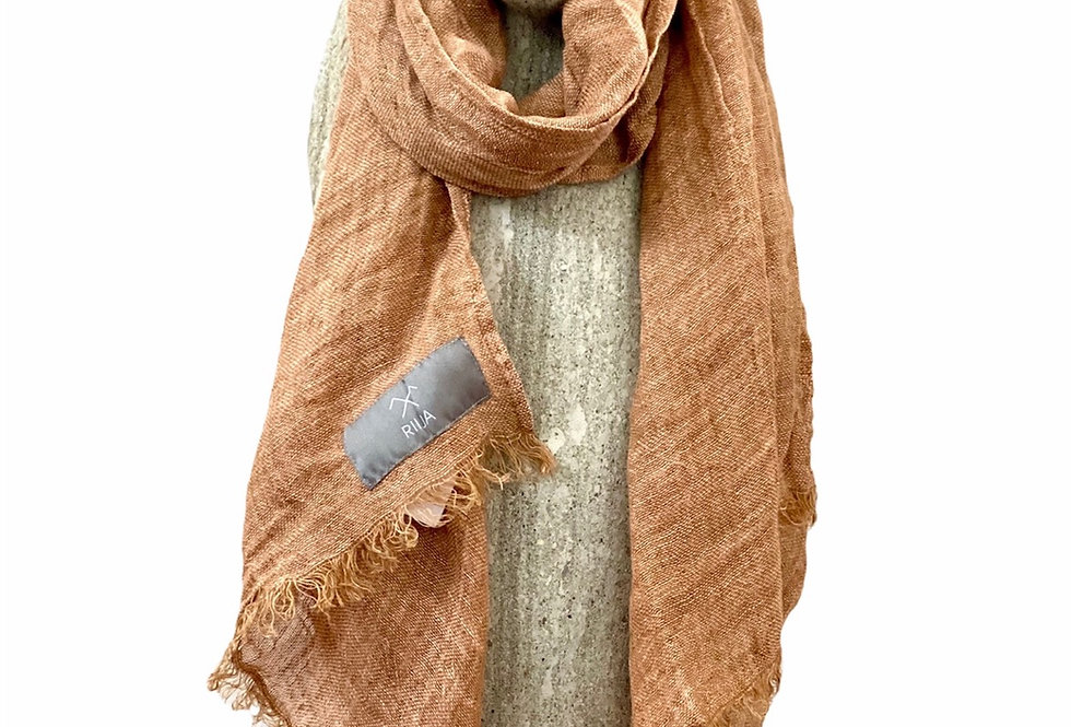 Burnt Apricot  Linen Scarf