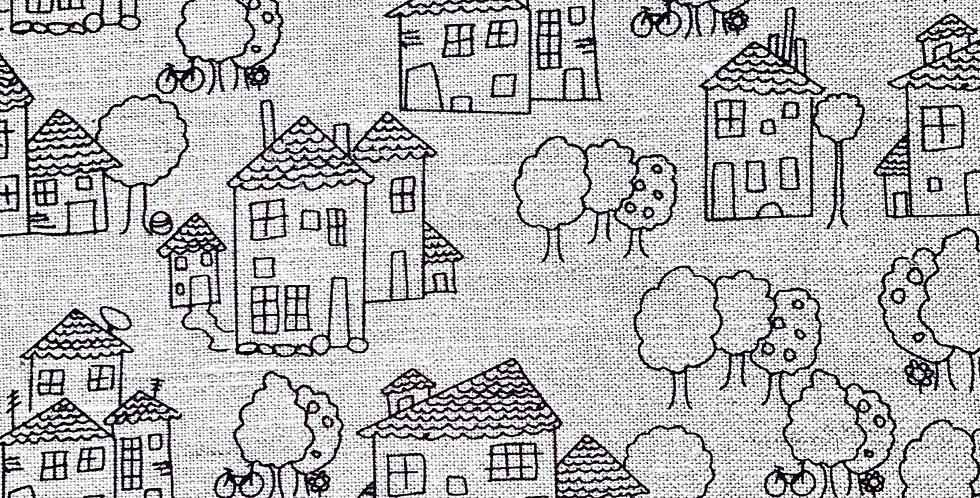 Houses tea towel