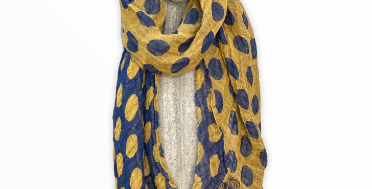 Yellow and Blue Dot Linen Scarf