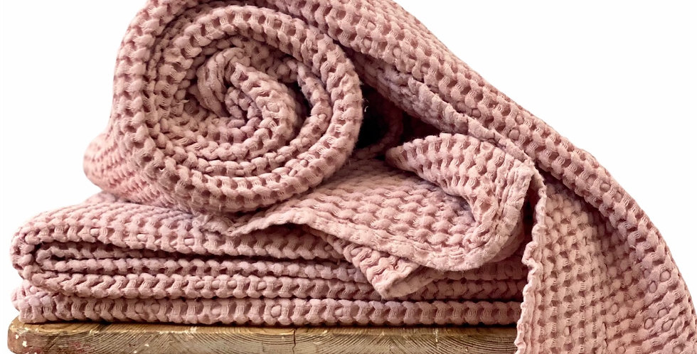 Pink Linen Waffle Spa Towel