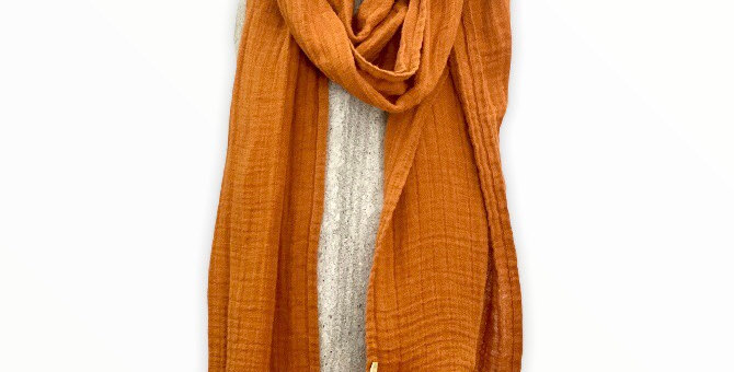 Dark Orange Linen Scarf