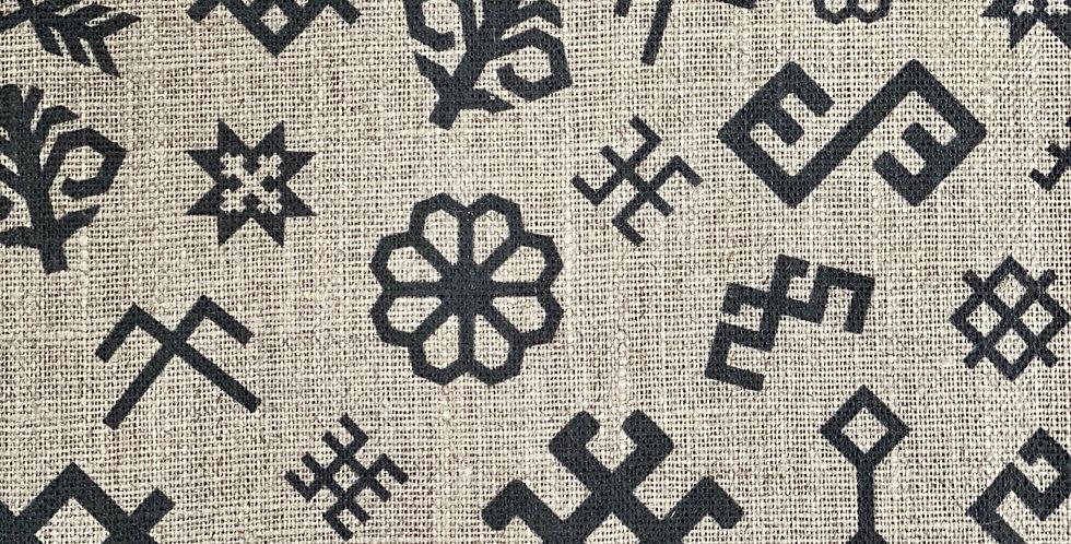 Natural and Black Ethnographic Tea Towel