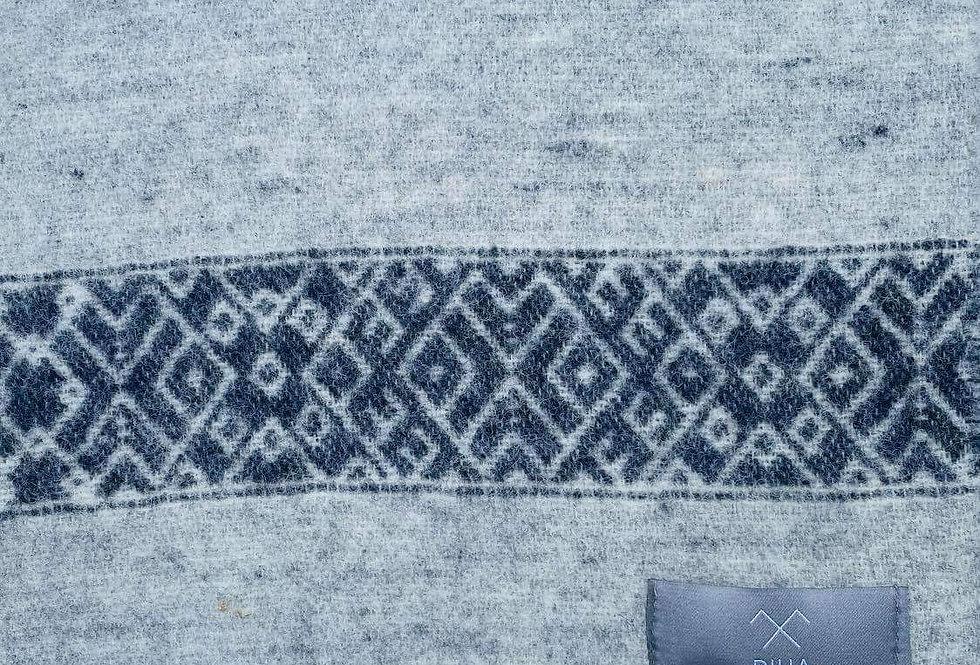 LIELVARDES Light Grey Woollen Throw Blanket